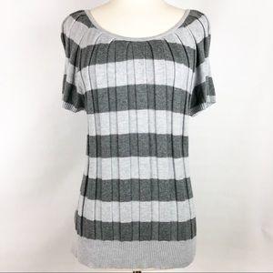 Joseph A. | Pleated Grey Stripe Sweater Sz XL